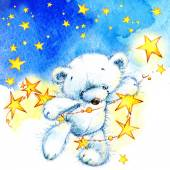 Teddy bear and stars — Stock Photo