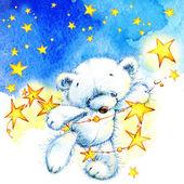 Teddy bear and stars — Stock Photo