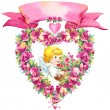 Angel and wreath of roses — Stock Photo #71519079