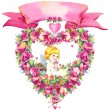 Angel and wreath of roses — Stock Photo #71519081