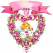Angel and wreath of roses — Stock Photo #71519095