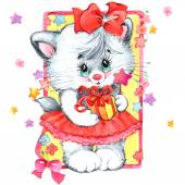 Funny kitten fot kids party — Stock Photo