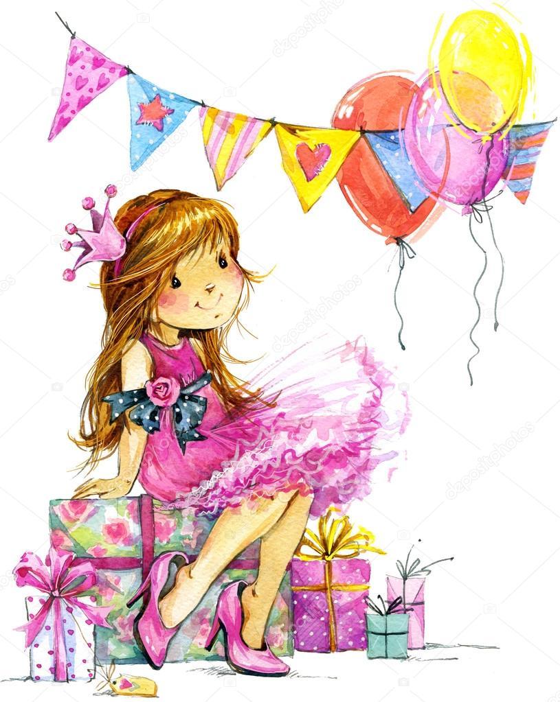 baby girl and birthday background � stock photo