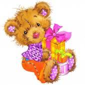 Teddy bear for kid birthday — Stock Photo