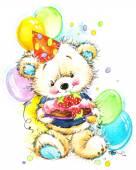 Teddy bear for kid birthday background — Stock Photo