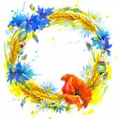 Wreath of wheat and wildflower. — Stock Photo