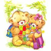 Teddy bear and Kid school background — Stock Photo