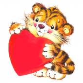 Valentine Day. Background For Card With Cute animal and Red Heart . — Stock Photo