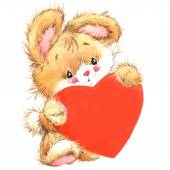 Valentine Day. Background For Card With Cute animal and Red Heart . — Stock fotografie