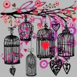 Valentine day background with decorativ flowers, bird, ribbon, birdcage  and red heart. — Stock Photo #72231643