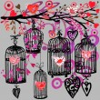 Valentine day background with decorativ flowers, bird, ribbon, birdcage  and red heart. — Stock Photo #72231659