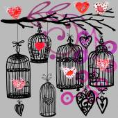 Valentine day background with decorativ flowers, bird, ribbon, birdcage  and red heart. — Stock Photo