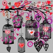 Valentine day background with decorativ flowers, bird, ribbon, birdcage  and red heart. — Stockfoto