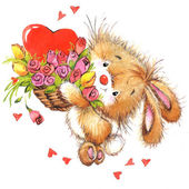 Valentine Day. Background for card with cute animal — Stok fotoğraf