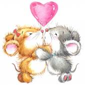 Valentine Day. Background for card with cute animal — Stock fotografie