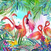 Tropical exotic bird, leaves and flowers. watercolor — ストック写真