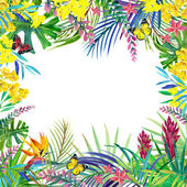 Tropical forest landscape, leaves, flowers and butterfly. — Stock Photo