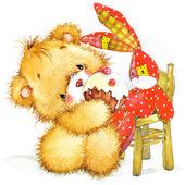 Teddy bear and kid Birthday background. — Stock Photo