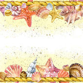 Seashell and sea sand. watercolor — Stock Photo