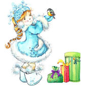 Cute baby girl and funny animals. winter holidays background watercolor — Stockfoto