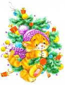 Funny animals and winter holidays background for Christmas and New Year. watercolor — Stock Photo