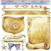 Vintage decor for design with sea shell and sea fauna handmade sketch. watercolor — Stock Photo