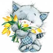 Funny kitten. watercolor illustration for kid background — Stock Photo
