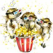 Funny meerkat with watercolor splash background — Stock Photo