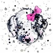 Funny puppy with watercolor splash background — Stock Photo