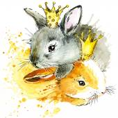 Funny bunny bunny watercolor splash background — Stock Photo