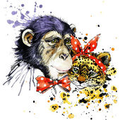 Funny monkey, leopard with watercolor splash background — Stock Photo