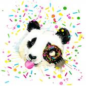 Funny Panda Bear watercolor illustration — Stock Photo