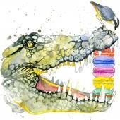 Funny crocodile and bird watercolor — Stock Photo