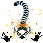 Funny lemur watercolor — Stock Photo