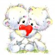 Valentine day. Cute White bear and red heart. — Stock Photo #74193999