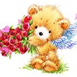 Valentine day. Cute White bear and red heart. — Stock Photo #74194007