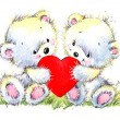 Valentine day. Cute White bear and red heart. — Stock Photo #74194011