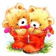 Valentine day. Cute White bear and red heart. — Stock Photo #74194035
