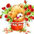 Valentine day. Cute White bear and red heart. — Stock Photo #74194057