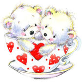Valentine day. Cute White bear and red heart. — Stock Photo