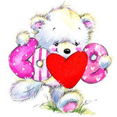 Valentine day. Cute White bear and red heart. — Foto Stock