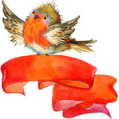 Christmas winter bird with red banner. watercolor — Stock Photo