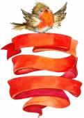 Uccello di inverno di Natale con la bandiera rossa. acquerello — Foto Stock