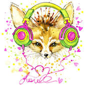 T-shirt graphics Fennec fox and fashionable headphones, illustration watercolor — Stock Photo