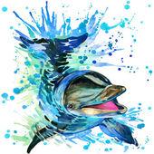 T-shirt graphics dolphin , illustration watercolor — Stock Photo