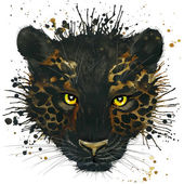 T-shirt graphics black Panther illustration watercolor — Foto de Stock