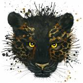 T-shirt graphics black Panther illustration watercolor — Stock Photo