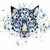 T-shirt graphics cute snow leopard, illustration watercolor — Stock Photo