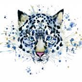 T-shirt graphics cute snow leopard, illustration watercolor — Stock Photo