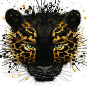 Jaguar illustration with splash watercolor textured background — Stock Photo